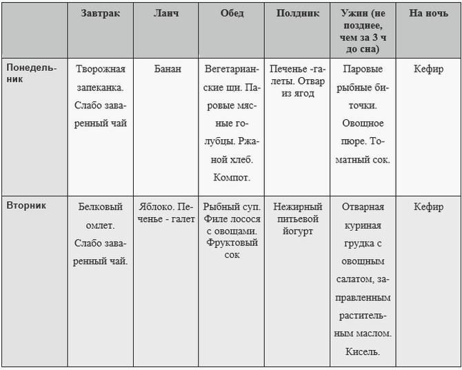 пример меню 1