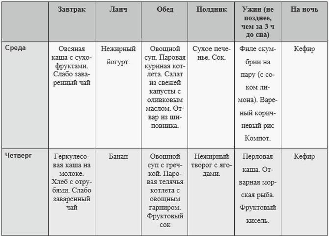пример меню 2